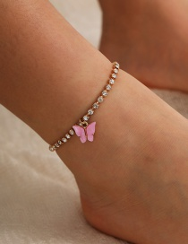 Fashion Pink Glass Rhinestone Butterfly Alloy Resin Anklet