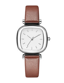 Fashion Brown Tonneau Shaped Pu Belt Quartz Watch
