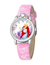 Fashion Pink Little Princess Pattern Belt Table Set Diamond Anglo Watch
