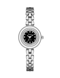 Fashion Silver With Black Face Small Dial Thin Strap Set Diamond English Bracelet Watch
