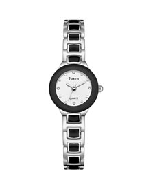 Fashion Silver With Black Face Alloy Thin Disc Water Diamond Bracelet Watch