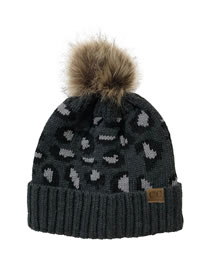 Fashion Dark Gray Leopard Print Curled Letter Mark Wool Ball Knitted Beanie Hat