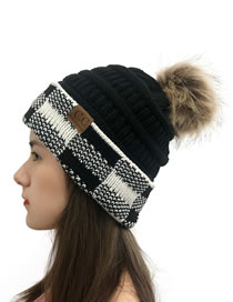 Fashion Black+white Grid Wool Letter Label Large Square Lattice Color Matching Curled Wool Ball Knitted Hat