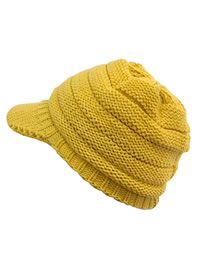 Fashion Turmeric Solid Color Knitted Woolen Hat With Brim