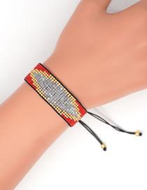 Fashion Red Rice Beads Hand-woven Eye Geometric Bracelet