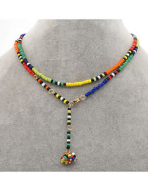 Fashion Color Mixing Rice Beads Beads Contrasting Color Pendant Multilayer Necklace