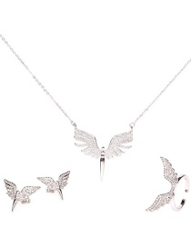 Fashion Silver Suit Micro-encrusted Diamond Angel Wings Gold-plated Necklace Earrings Ring