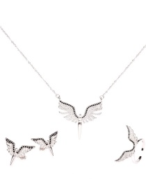 Fashion Silver Suit Diamond Angel Wing Necklace Ring Earrings
