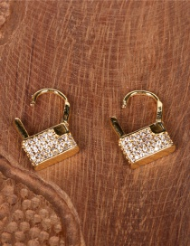 Fashion Golden Lock-shaped Gold-plated Copper Earrings With Diamonds