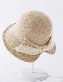 Fashion Beige Cashmere Split Color Matching Bow Fisherman Hat