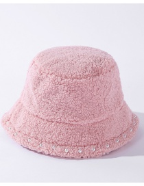 Fashion Pink Lambs Wool And Pearl Lace Solid Color Fisherman Hat