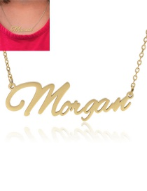 Fashion Morgan-gold Stainless Steel Letter Hollow Necklace