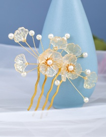 Fashion Yellow Pearl Flower Alloy Resin Insert Comb