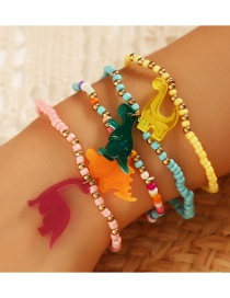 Fashion Color Mixing Resin Dinosaur Rice Beads Contrasting Color Bracelet Set