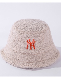 Fashion Beige Letter Embroidery Lamb Wool Fisherman Hat