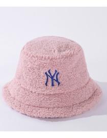 Fashion Pink Letter Embroidery Lamb Wool Fisherman Hat