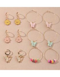 Fashion Color Mixing Acrylic Butterfly Oil Drop Diamond Flower Alloy Earring Set
