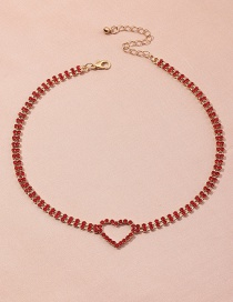 Fashion Red Heart Diamond Alloy Hollow Necklace
