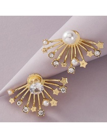 Fashion Golden Fan-shaped Back Hanging Five-pointed Star Pearl And Diamond Earrings