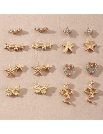 Fashion Golden Butterfly Inlaid Diamond Love Earring Set