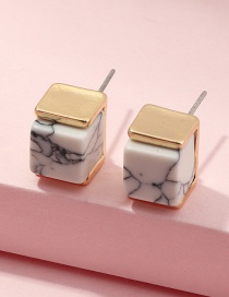 Fashion White Geometric Square Turquoise Alloy Earrings