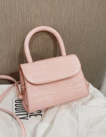 Fashion Pink Crocodile Pattern Flap Solid Color One-shoulder Crossbody Bag