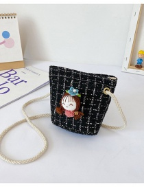 Fashion Little Black Girl Hand-woven Floral Plaid Childrens Shoulder Messenger Bag