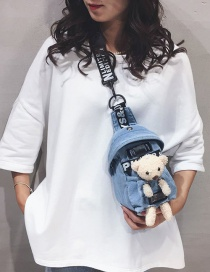Fashion Light Blue Bear Letter Printed Canvas Crossbody Belt Bag