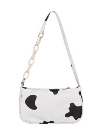 Fashion Black Cow Pattern Print Chain Shoulder Messenger Bag