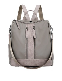 Fashion Gray Oxford Cloth Stitching Zipper One-shoulder Backpack