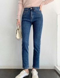Fashion Blue Washed High-rise Stretch Cigarette Jeans
