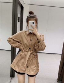Fashion Brown Spliced ??pu Leather Loose Tie Large Size Leather Jacket