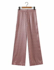Fashion Dark Pink Floral Print Straight-leg Trousers