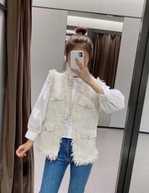 Fashion White Solid Color Knitted Frayed Vest Jacket
