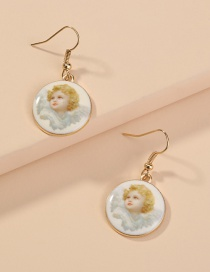 Fashion White Round Resin Angel Alloy Earrings