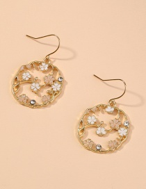 Fashion Golden Small Flower Geometric Round Diamond Earrings
