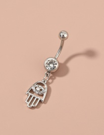 Fashion Silver Palm Pendant Stainless Steel Body Piercing Navel Nail