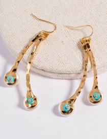 Fashion Golden Double Pearl Turquoise Alloy Earrings