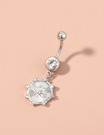 Fashion Silver Diamond-studded Skylight Star Pendant Stainless Steel Belly Button Nail
