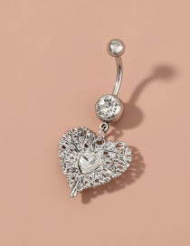 Fashion Silver Stainless Steel Heart-shaped Glass Drill Alloy Belly Button Nail