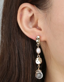 Fashion Golden Natural Stone Freshwater Pearl Geometric Alloy Earrings
