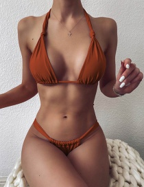 Fashion Caramel Colour Solid Color Knotted Triangle Lace Split Swimsuit