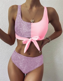 Fashion Pink Snake Pattern Stitching Contrast Color Tether Split Swimsuit