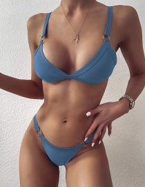 Fashion Blue Solid Color Triangle Metal Circle Low-rise Split Swimsuit