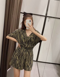 Fashion Armygreen Animal Print Jumpsuit Shorts