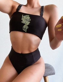 Fashion Black Solid Color Tube Top Strap Buckle Embroidered Dragon Split Swimsuit