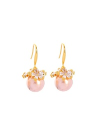 Fashion Champagne Gold Flower Diamond Pearl Alloy Earrings