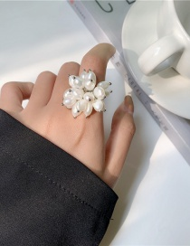 Fashion White Baroque Shaped Pearl Alloy Ring