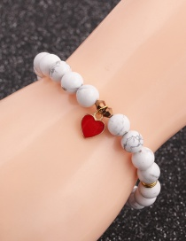 Fashion Bai Song Love 8mm Frosted Stone White Pine Love Heart Alloy Bracelet