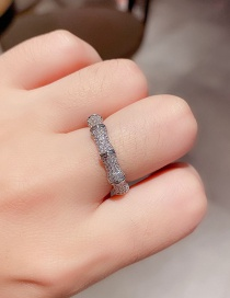 Fashion Platinum Plated Step By Step Rising Bamboo Full Diamond Open Ring